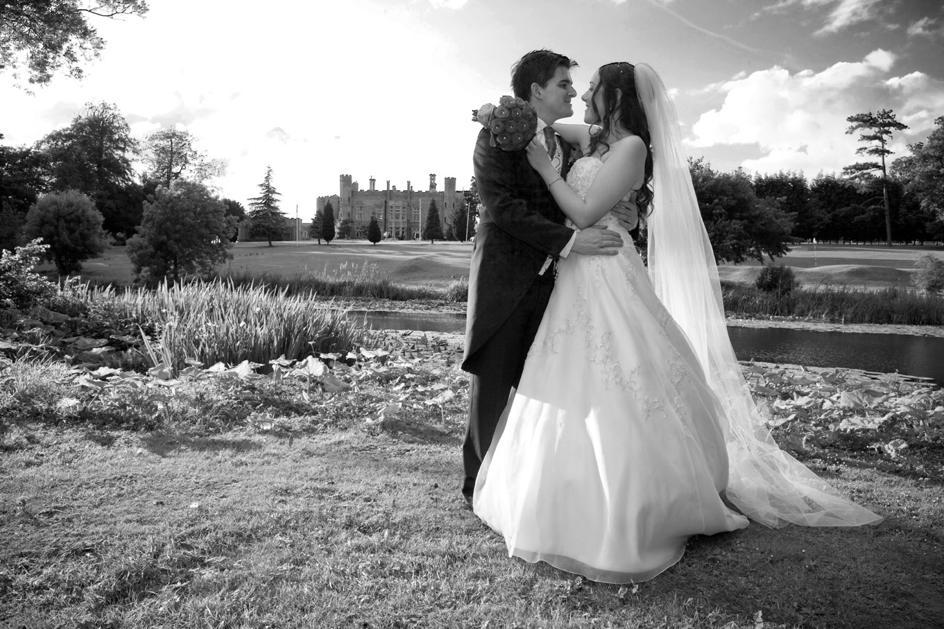 Bride and Groom at the lakeside