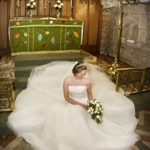 posed bride in the church